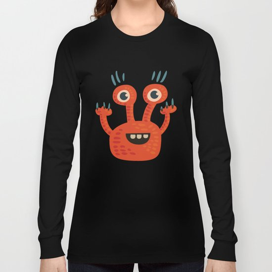 Funny Orange Happy Creature Long Sleeve T-shirt