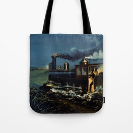The Danger Signal: Train Scene, Currier & Ives Tote Bag