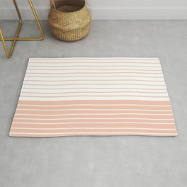 Colorful Stripes, Abstract, Blush Pink, Geometric Art Rug