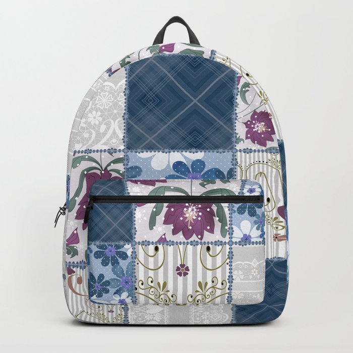 Patchwork  floral lace pattern background Backpack