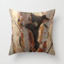 Black Bear Cub - Curious Cub II Throw Pillow
