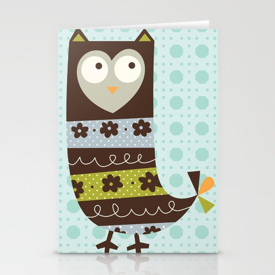 Brown Whimsy Owl Stationery Cards