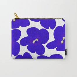 Blue Retro Flowers Carry-All Pouch