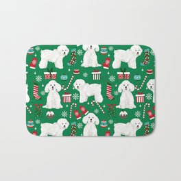 Bichon Frise Christmas dog breed pattern mittens stockings presents dog lover Bath Mat