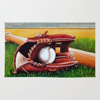 baseball Area & Throw Rugs featuring Baseball by A Calcines