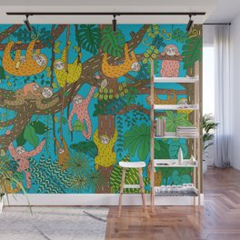 Happy Sloths Jungle Wall Mural