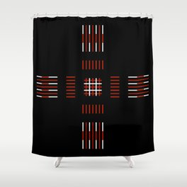 Black White Red Cross Shower Curtain