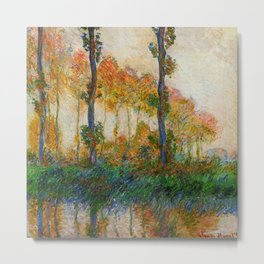 Autumn Trees in full fall foliage by the marshes landscape painting by Claude Monet Metal Print