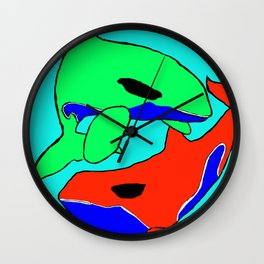The glaring whales Wall Clock