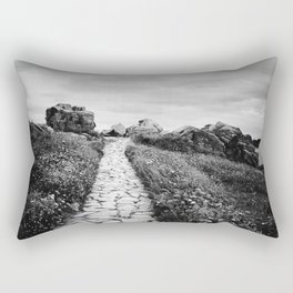 Scenic view of path through cliffs against sky Rectangular Pillow