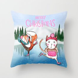 Merry Christmas from Cat and Fox Throw Pillow