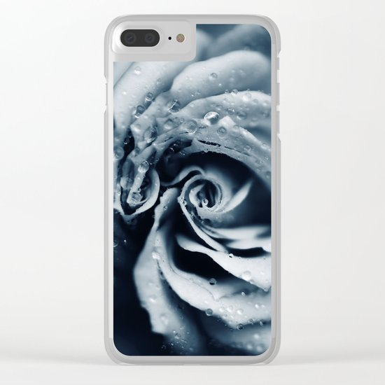 Rose - powder blue Clear iPhone Case