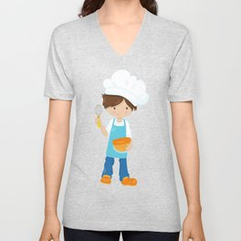 Boy Baking, Boy With Chef's Hat, Brown Hair Unisex V-Neck