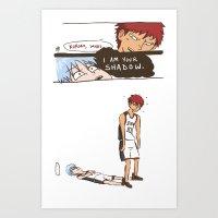 kuroko Art Prints featuring Kuroko no Basuke: Kagami's Shadow by meganbarker