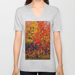 Tom Thomson - Autmn Wood - Canada, Canadian Oil Painting - Group of Seven Unisex V-Neck