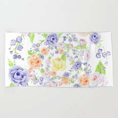 Bouquet of Orange AND Blue rose - wreath Beach Towel
