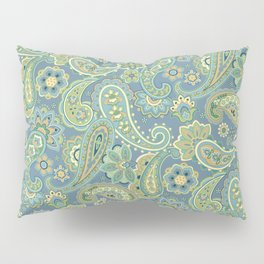 Blue and Gold Paisley Pillow Sham