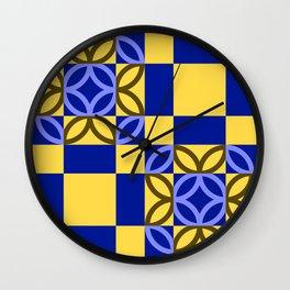 Checkered Circles Yellow and Dark Blue Pattern Wall Clock