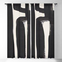 Mid Century Modern Minimalist Abstract Art Brush Strokes Black & White Ink Art Ancient Stripes Blackout Curtain