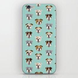 English Bulldog pattern print dog breed pet portrait gifts for dog owner bulldog iPhone Skin