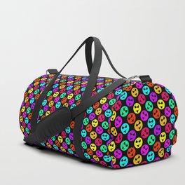 Mini Smiley Bikini Bright Neon Smiles on Black Duffle Bag