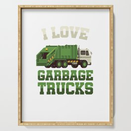 I Love Garbage Truck Collectors Vehicle Automotive Mechanic Truck Drivers Cleanliness Gift Serving Tray