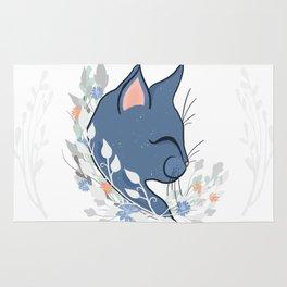 Happy Cat In The Springtime Garden Rug