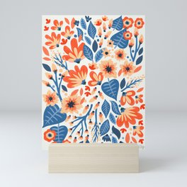 Mixed Florals - Peach & Blue Palette Mini Art Print