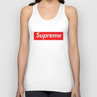 supreme Tank Tops featuring Supreme Red by Jason Vaughan