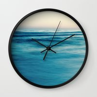 blues Wall Clocks featuring blues by Bonnie Jakobsen-Martin