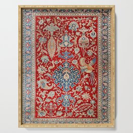 Turkey Hereke Old Century Authentic Colorful Royal Red Blue Blues Vintage Patterns Serving Tray