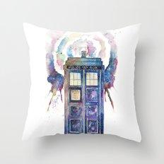 Tardis in a space-time warp Throw Pillow