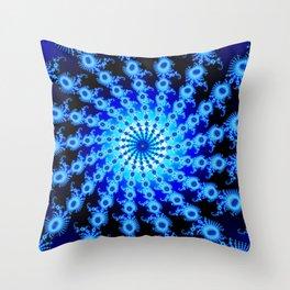 """""""Blue Sun"""" Spiral Fractal Art Print Throw Pillow"""