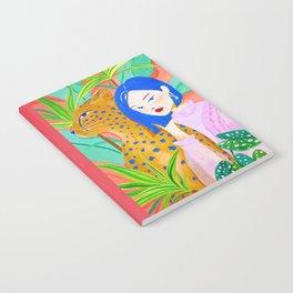 Short Hair Girl and Leopard in Garden Notebook