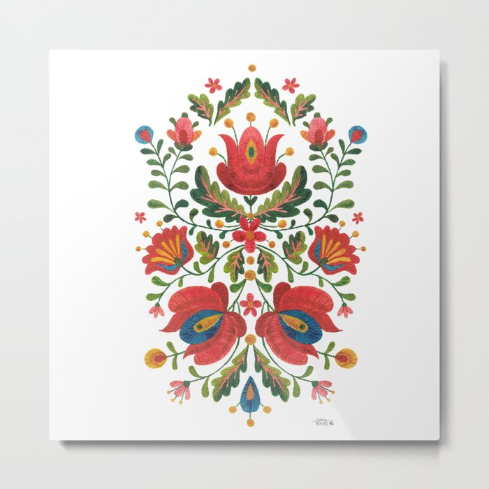Folk Embroidery Metal Print