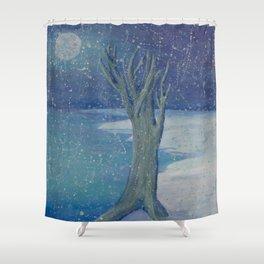 Night Snow Shower Curtain