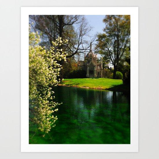 Chapel by the lake Art Print