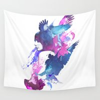 fight Wall Tapestries featuring Bloody Fight by Robert Farkas