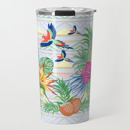 Macaws Parrots Exotic Birds on Tropical Flowers and Leaves Travel Mug