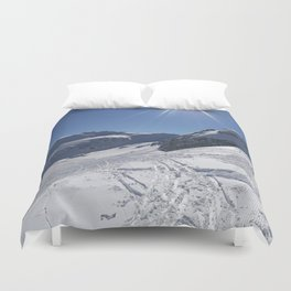 Up here, with sun and snow Duvet Cover