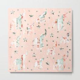 Pastel Tone Elephants Stars Pattern Metal Print