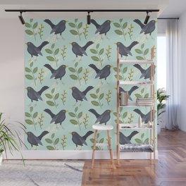 A Flurry Of Wings Spring Blackbird Pattern Wall Mural