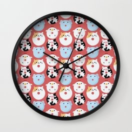 Cute Animal Characters Donuts Illustration  Wall Clock
