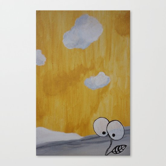 Plant with Yellow Sky Canvas Print