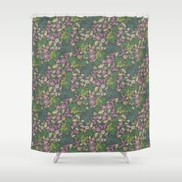Pink hyacinth with chamomile and green hop on dark background Shower Curtain