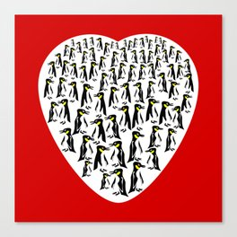 Penguins Clustered into Heart Shape Canvas Print