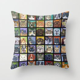 Cats and Dogs in Black Throw Pillow