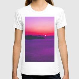 purple sunset in Fira Santorini T-shirt