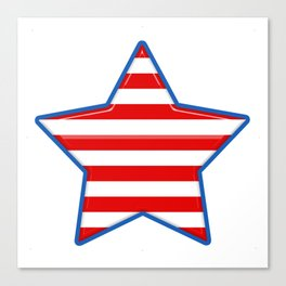 Patriotic Star Blue Border Red and White Stripes Canvas Print