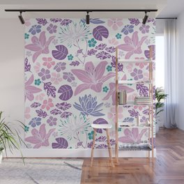 Purple and pink Japanese pond foral Wall Mural